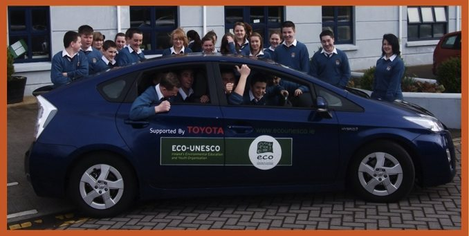 Eco Unesco Visit Desmond College in Electric Car