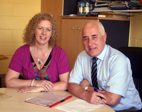 2010-2011 Desmond College Deputy Principal, Ms Vourneen Gavin Barry and Principal, Mr Padraig Flanagan