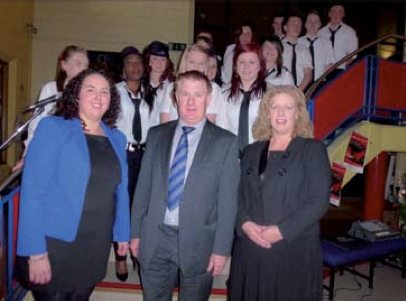 2012 secret millionaire programme - principal of desmond college, students, staff and entrepeneur john concannon