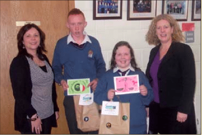 Fairtrade Limerick Christmas Card Competition winners with Ms O'Connor and Ms Gavin