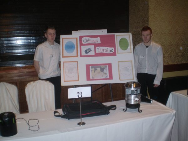 Desmond College Newcastle West Limerick Secondary Students with their Chimney Turbines