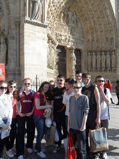 Desmond College 2nd year students on their school tour in Paris France
