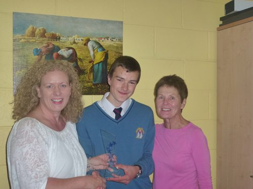 A Desmond College Junior Certificate Student winning the Bank of Ireland Student of the Year Award