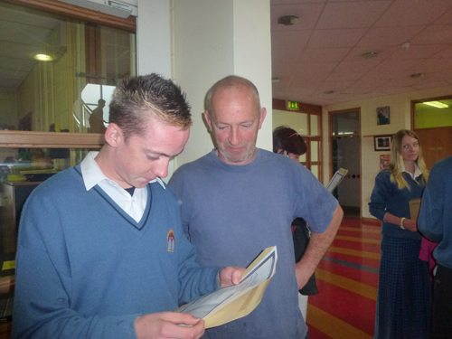 A Desmond College Pupil receiving their Junior Certificate Results