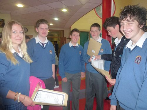 Students Gather to receive their Junior Certificate Exam Results at Desmond College VEC Newcastlewest