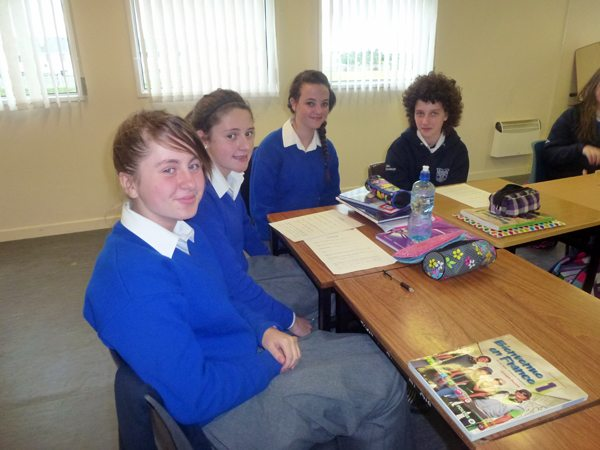 Gaelcholaiste Ui Chonba 1st year students talking to their Transition Year mentor