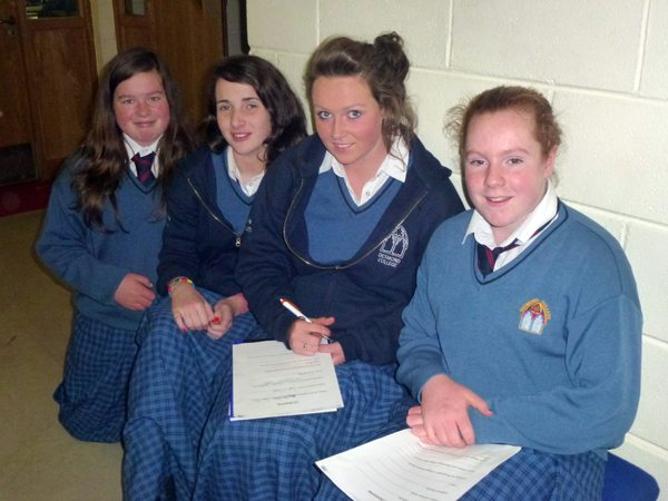 Four Desmond College students sitting together working as part of the Mentorship Programme 2012-2013