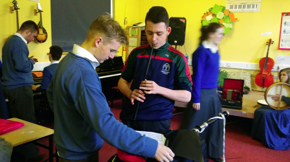 Students from Desmond College working in Groups during Music Class