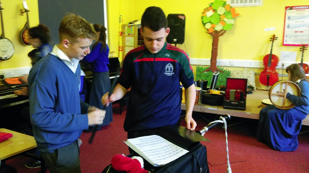 Desmond College Students in discussion during Music Class