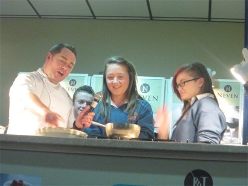 Desmond College Students invited on stage to cook with Neven Maguire