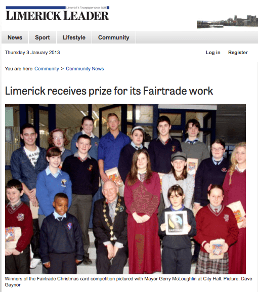 Limerick Leader article about the Fairtrade Christmas Card Competition 2012