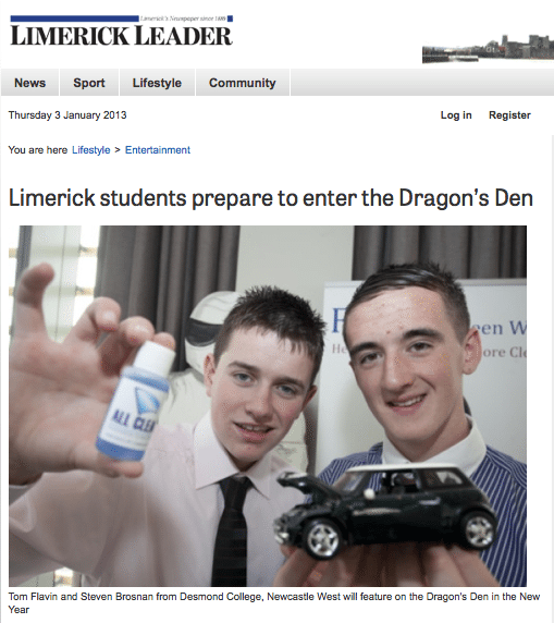 Limerick Leader article and photo of the Desmond College F-21D Transition Year Dragon Den Competitors