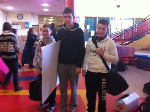 Students from Limerick school Desmond College packing up last week to go to the BT Young Scientists Competition