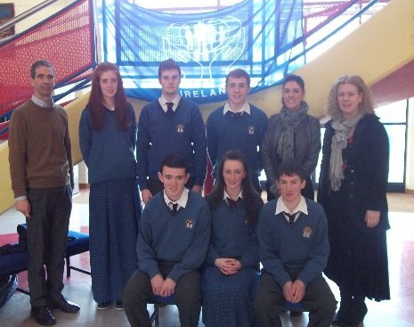 Declan Benson from Desmond Credit Union, School Principal Vourneen Gavin Barry, Dr Maureen Griffin and students of Desmond College