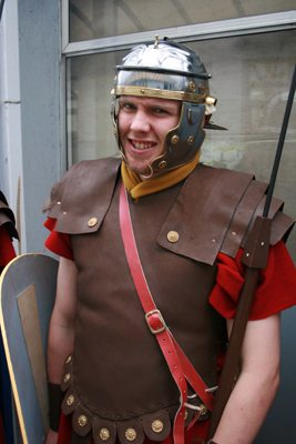 Desmond College Student as a Roman Soldier in the Way of the Cross