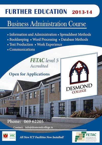 Further Education 2013-2014 FETAC Level 5 at Desmond College: Open for Applications
