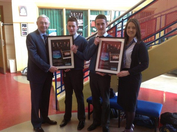 Desmond College TY Students photographed with Bank of Ireland officials at presentation of framed photos and cheque for appearance in RTE's Junior Dragons' Den programme