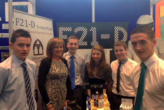 Desmond College Transition Year Students with their F21-D screen wash product at the Student Enterprise Finals 2013