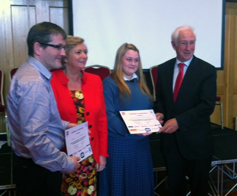 Desmond College Students at Business Partnership Presentation Ceremony with Minister Frances Fitzgerald 2013