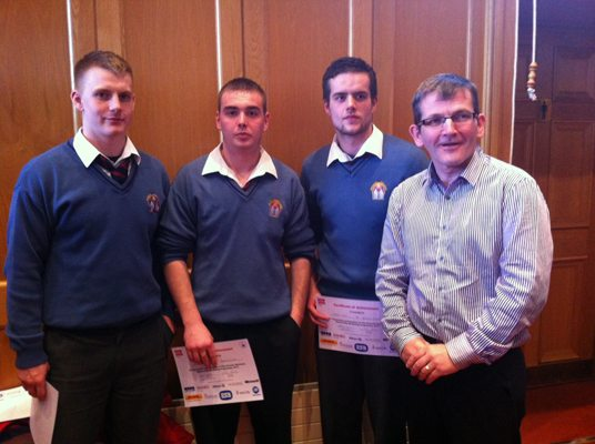 Billy Lyons, Andrew Barrett, Robert Toomey with Jimmy Lee from Ballygowan 2013