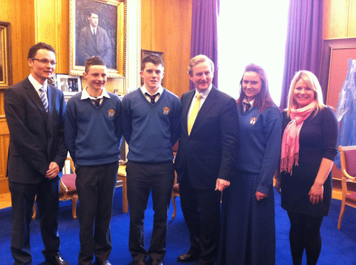 Students from Desmond College, with Patrick O'Donovan TD and teacher Ciara Broderick with An Taoiseach Enda Kenny following a private meeting.