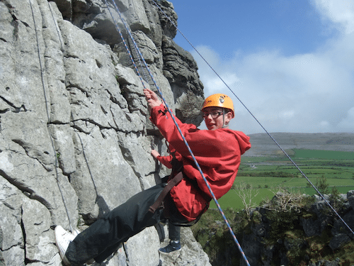 Abseiling on the First Year Trip to Burren