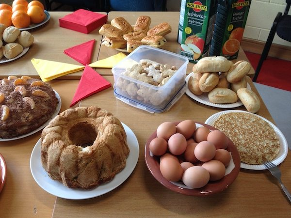 selection of food at the german breakfast