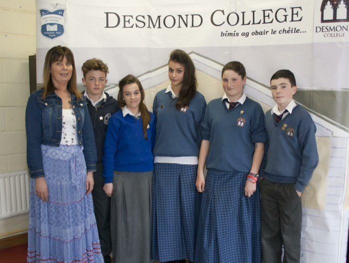 Desmond College Student Awards 2014 : 1st year and second year students with deputy principal Elizabeth Cregan