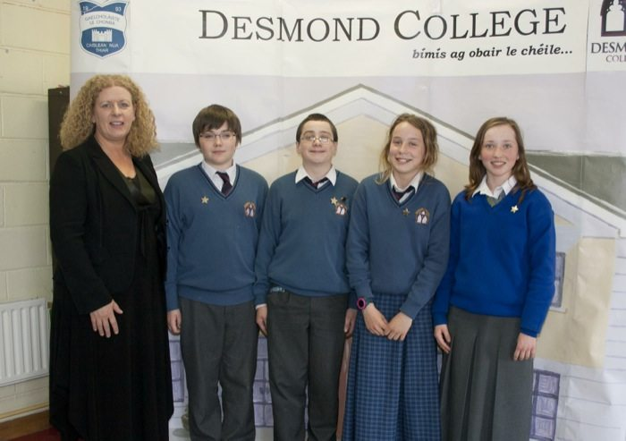 Desmond College Student Awards 2014 : 1st year and second year students with principal Vourneen Gavin Barry