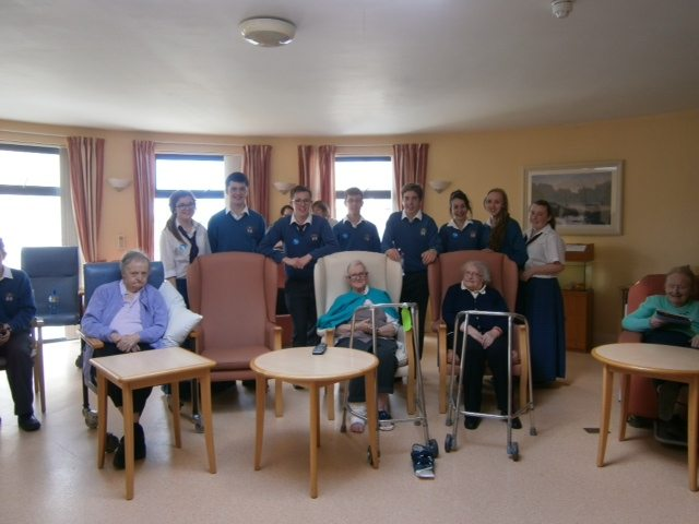 Oct 2014 Desmond College Trad Group and Transition Year Students celebrate with the residents of St. Ita's Nursing home, Positive Aging Week