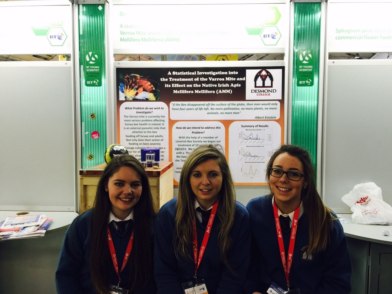 Desmond College Students Enjoying the BT Young Scientist : A statistical investigation into the treatment of the varroa mite and its effects on the native irish apis mellifera mellifera (AMM)