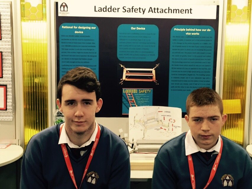 Desmond College Students Enjoying the BT Young Scientist : Ladder Safety Attachment