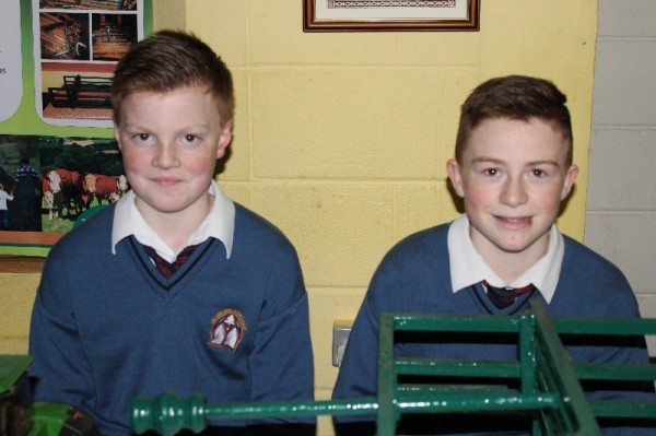 """Mooooove over Mammy!"" Diarmuid O'Flynn & Jack Corkery, Desmond College, with their Young Scientist Project on Farm Safety."