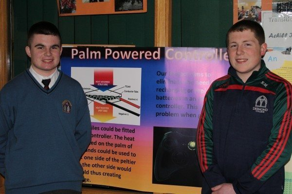 Robert Meehan and Sean McElliggot present Palm Powered Controller at the launch of Young Scientist Week