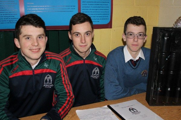 "Diarmuid Curtin, Conor Kennedy and Eamon Browne with their Technology Project for the Young Scientist Competition ""So This CAN Heat Us!"""