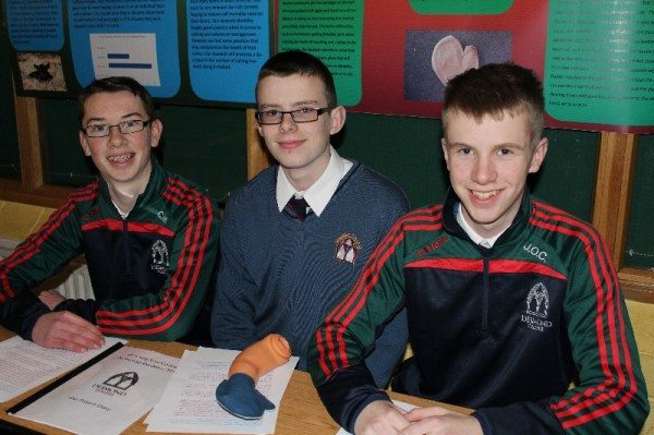 "Cillian McMahon,  Conor Riedy & Jack O'Connor, with their Young Scientist Project ""A Helping Hand"""