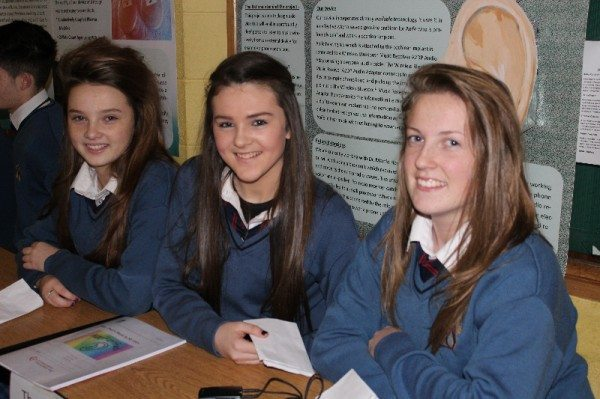 "Emma Roche, Laoise Curtin and Aoife Larkin from Desmond College with their Young Scientist Project entered in the Junior Technology Section entitled ""That's Music to my Ears""."