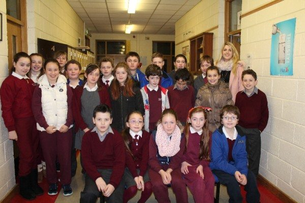 Students from Killoughteeen N.S. who were supported by Staff and Students from Desmond College, with their Young Scientist Project which investigates the different insulating ability of numerous cup types.