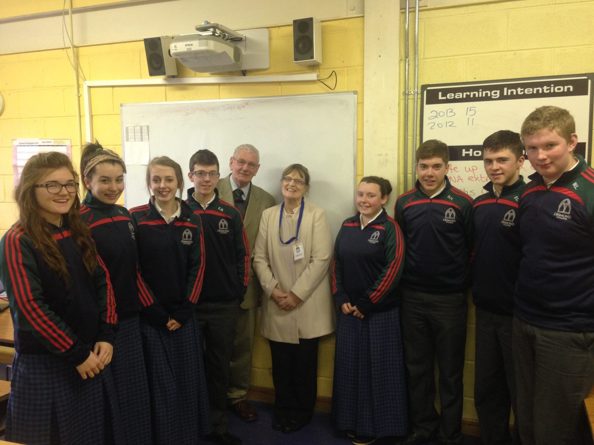 Dr Denis Sexton from the Irish Society for Autism with Claire Mortell, Stacey Flynn, Orla Wren, Eamonn Browne, Patreeze Nugent, Seamus Hurley, Eoin Considine and William Lane, Transition Year students at Desmond College