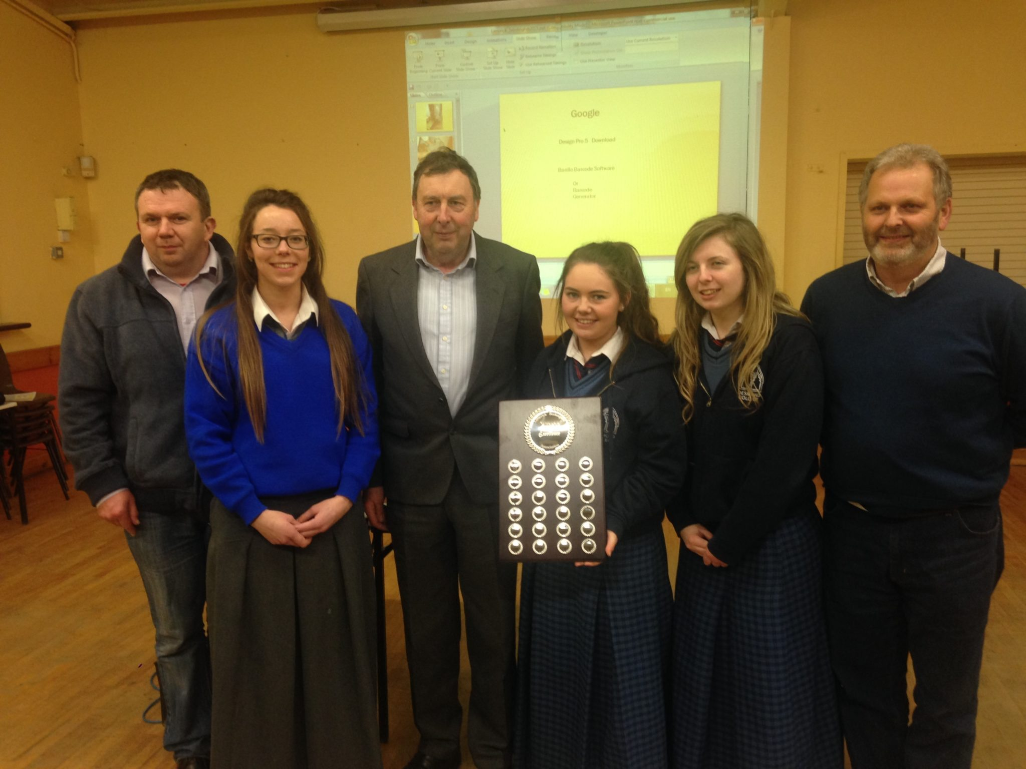 Kiara Carroll, Julie Cantillon and Terri Keane are Presented with a Perpetual Beekeepers of Excellence award for 2015 from the Irish Beekeepers Association for participating in the BT Young Scientist Competition