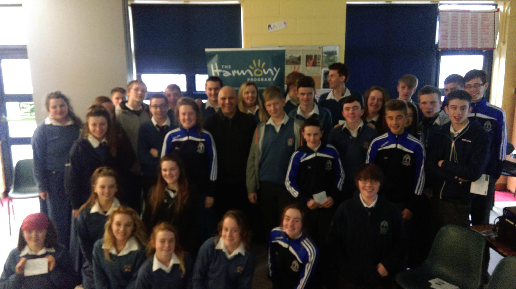 Second Year Desmond College students pictured with Roger Mehta from the Harmony Program