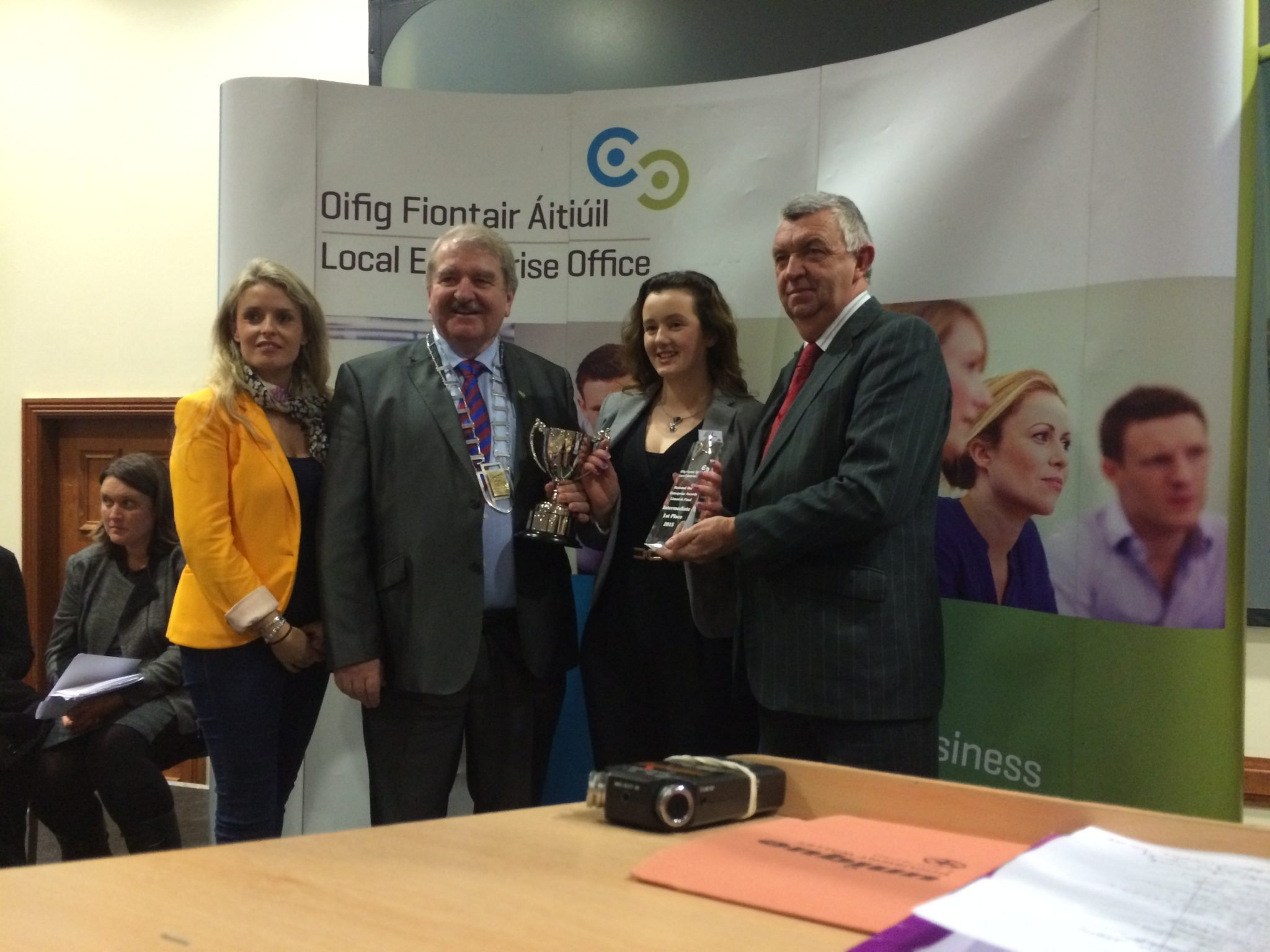 Heather Supple (Limerick Enterprise Board), Mayor - Kevin Sheehan, Emily Duffy and Eamonn Ryan (CEO Enterprise Board)