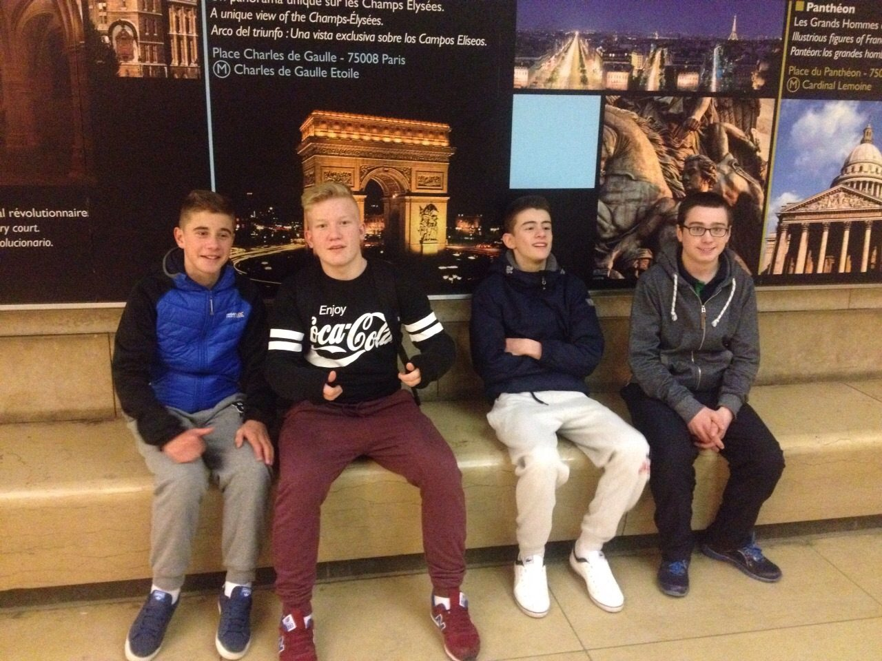 Maciej Zalewski, Dylan Moloney, Darragh Collins and Jeremiah Collins take a well deserved break after their trip to the Arc De Triomphe