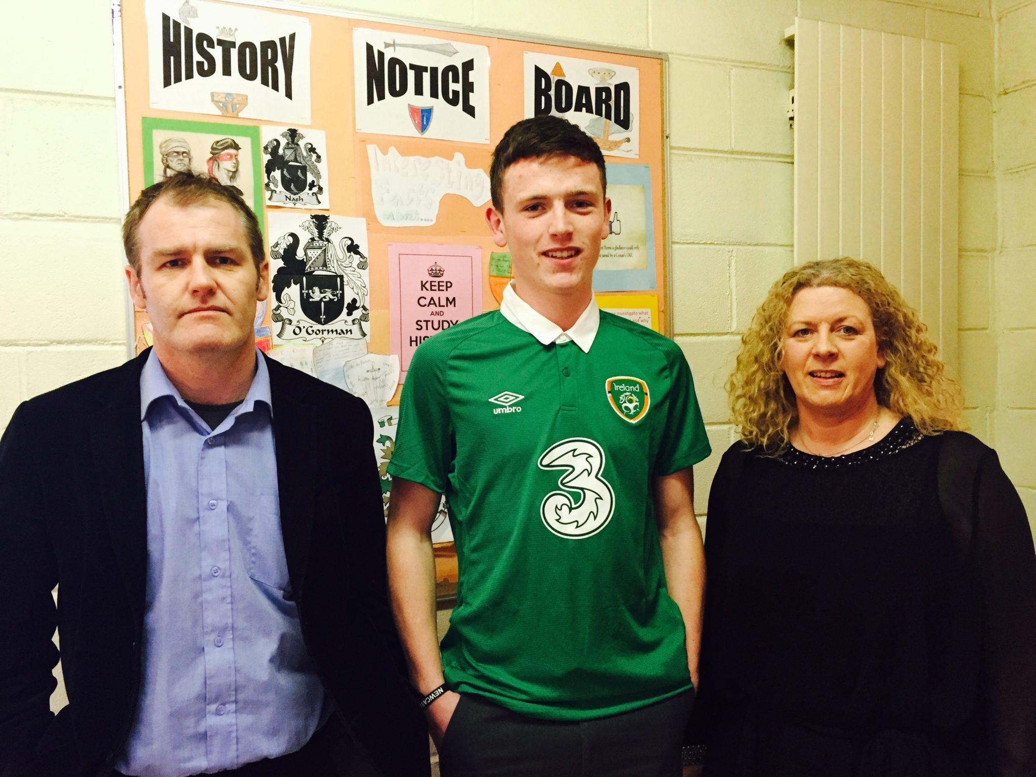 Soccer Coach Mr Casey, Killian Brouder and Principal Ms Gavin Barry