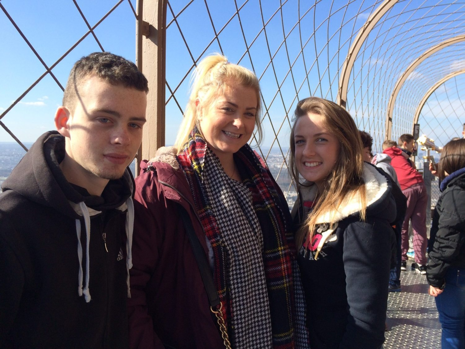 Paul Moroney, Ms Ryan and Aoife Larkin Enjoy the Signs on the Eiffel Tower