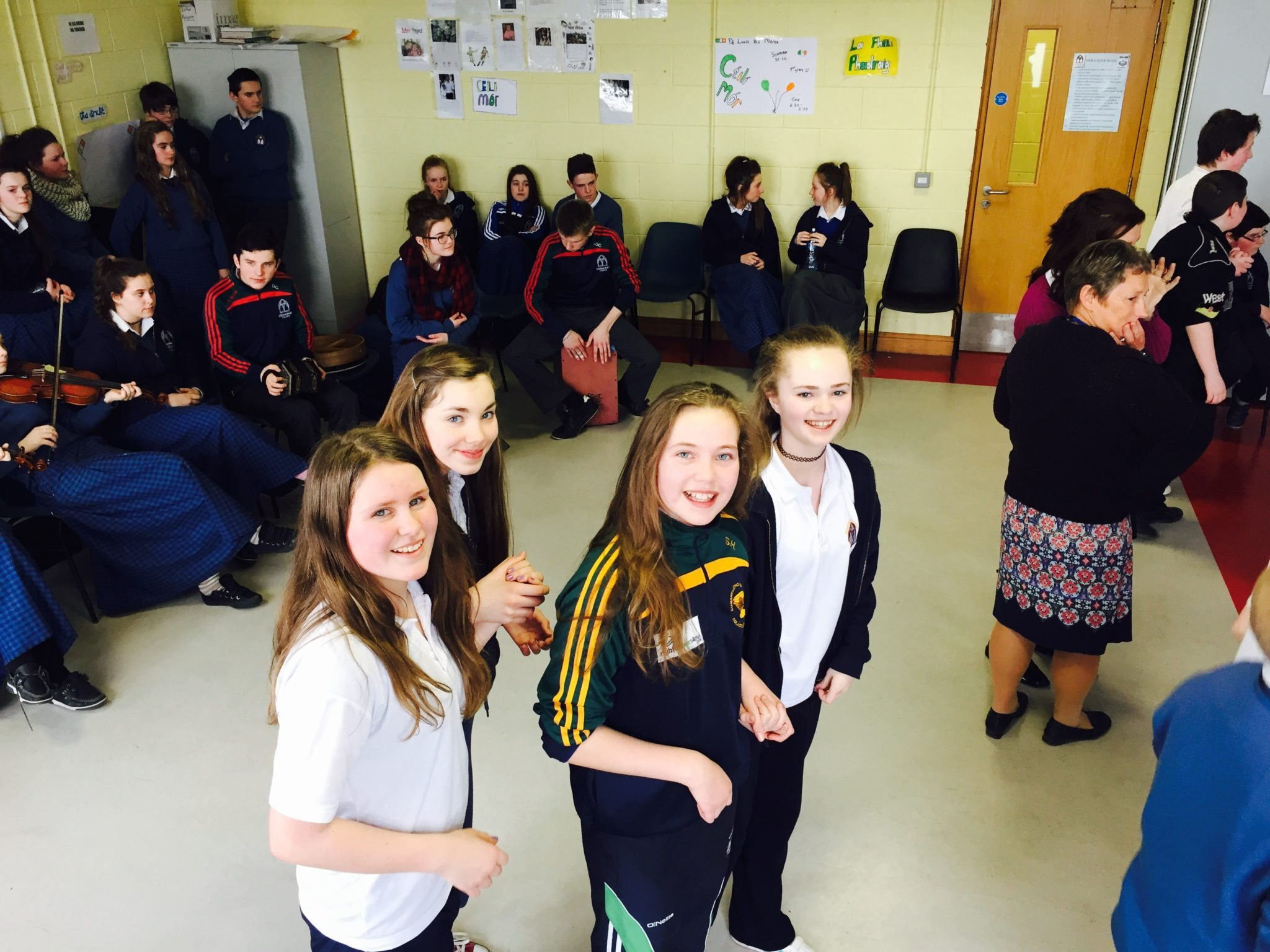 Siobhan Hurley, Kelli Gayer,Sophie Leenders and Eve Mountgomery all First Year students getting ready to 'Shoe the Donkey' at the Irish Céilí.