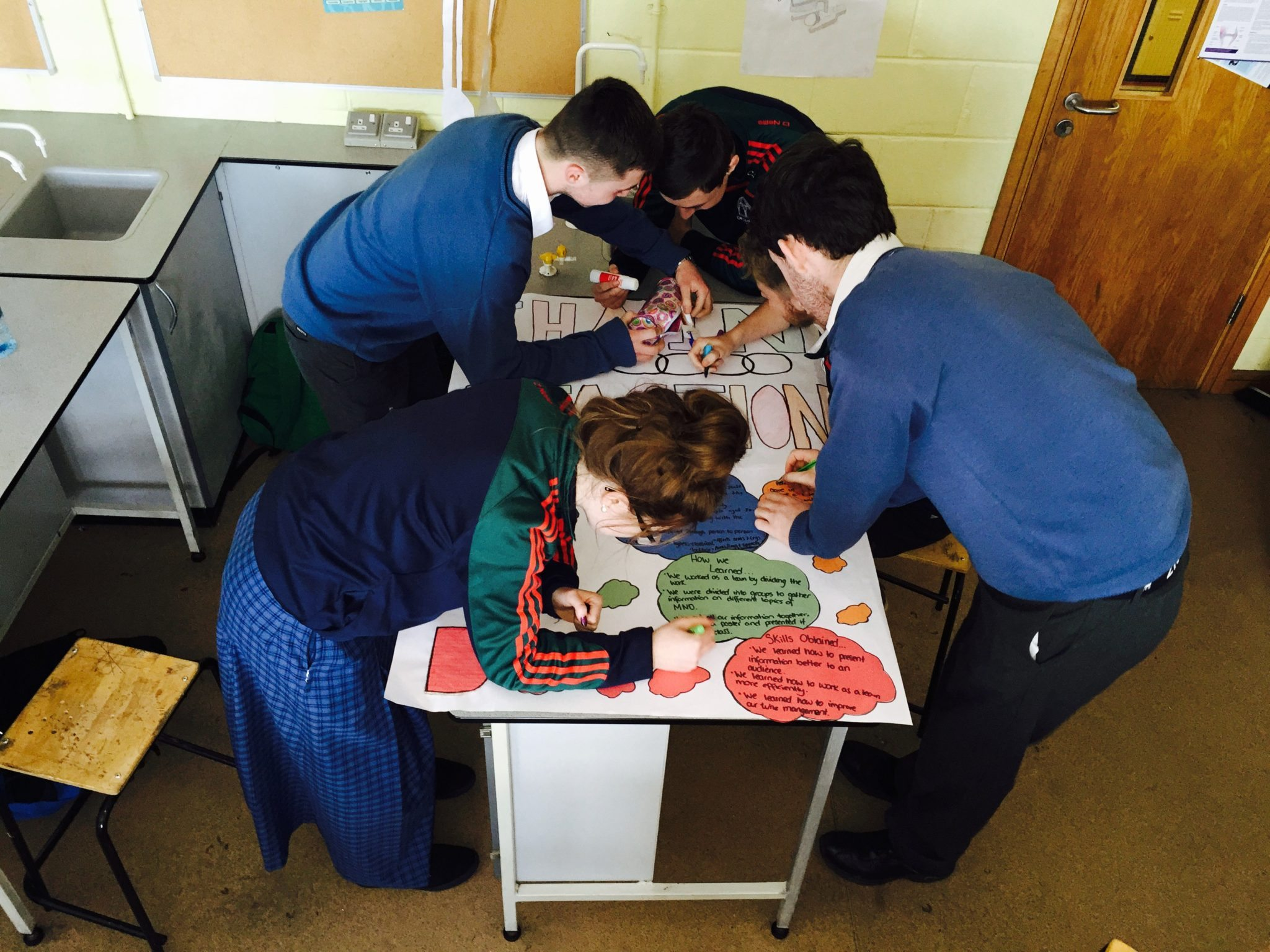Desmond College Transition Year Students putting the finishing touches on their projects  for the Chain Reaction Conference at the University of Limerick