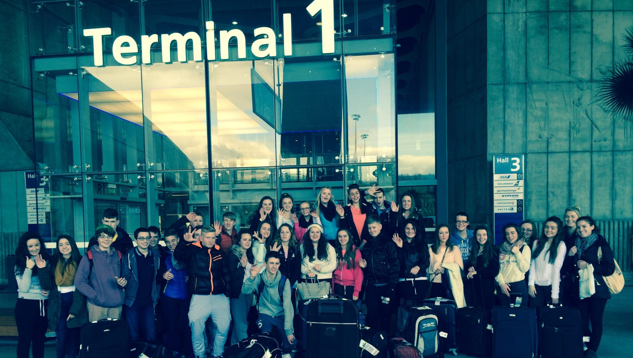 Desmond College Paris Trip 2015: The Group are Ready to Board the Plane to Paris