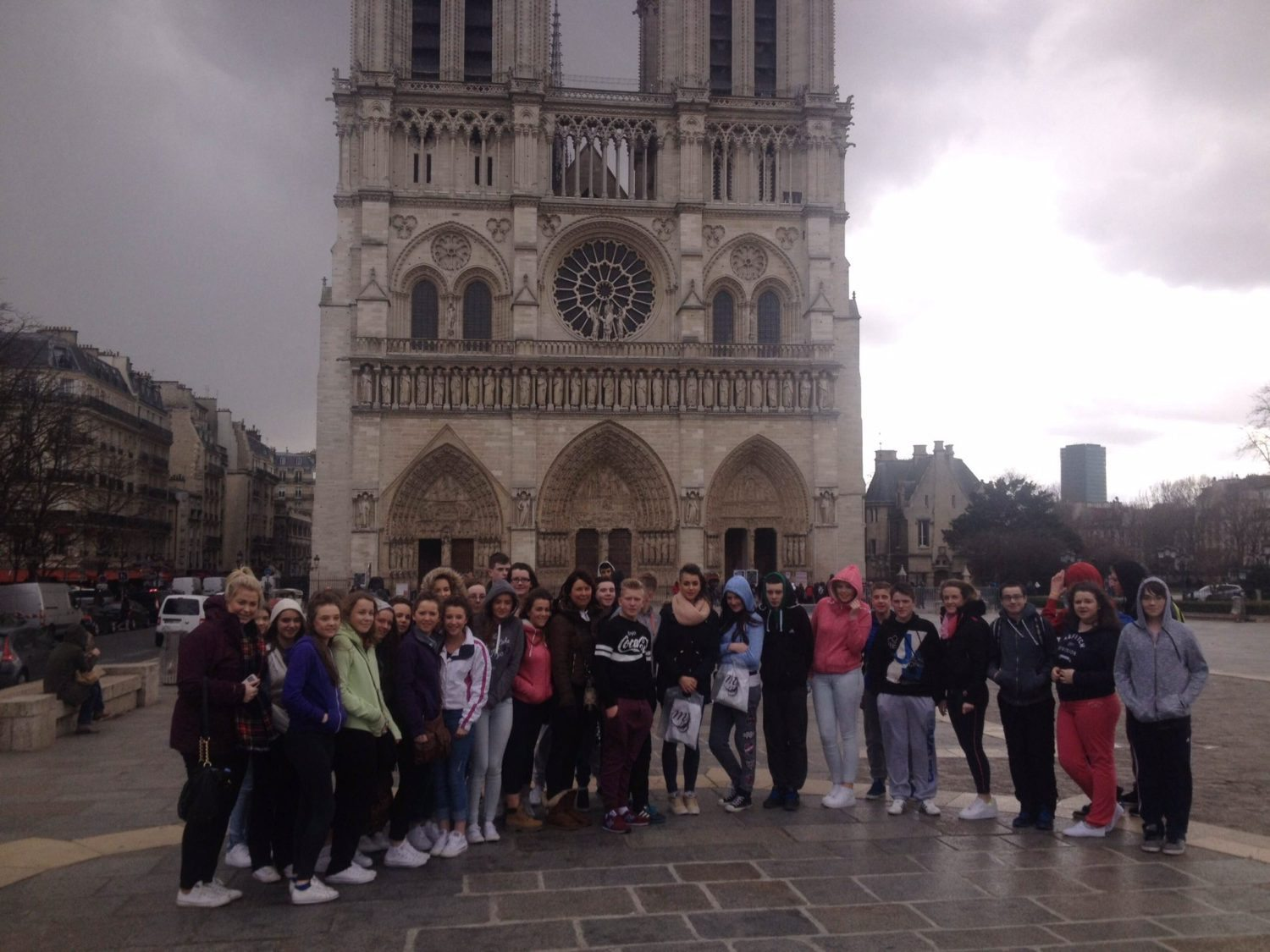 The Desmond College French Tour Group visits the Famous Notre Dame in Paris