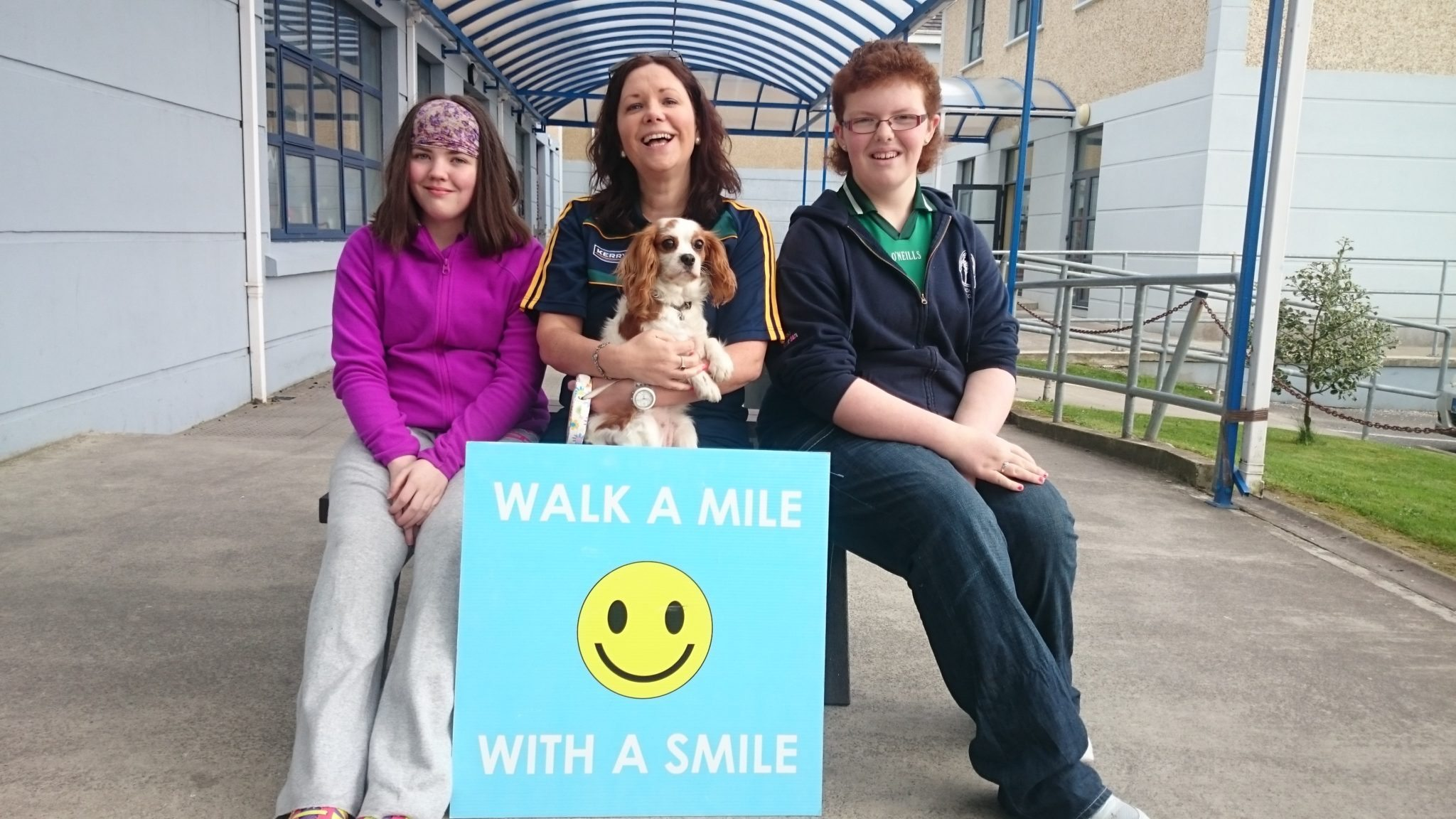 Aisling Walsh and Chloe O'Riordan walk a Mile with a Smile with Ms O'Connor and Special Guest, Zoe for Desmond College's Active Body Active Mind, Active Schools Week 2015